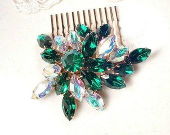 UNIQUE Emerald Green Bridal Hair Comb, Green Crystal Rhinestone Gold Vintage Wedding Hairpiece, Brooch Emerald Headpiece Green Jewelry 1950s