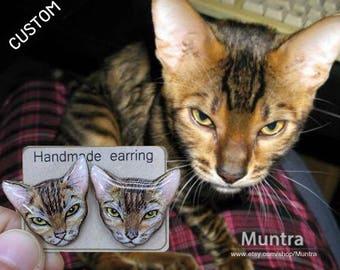CUSTOM PET EARRINGS - Pet Stud Earrings Resin Custom Cat Resin Jewelry Pet Earrings Animal Custom Cat Earrings Pet Custom Jewelry Gift Idea