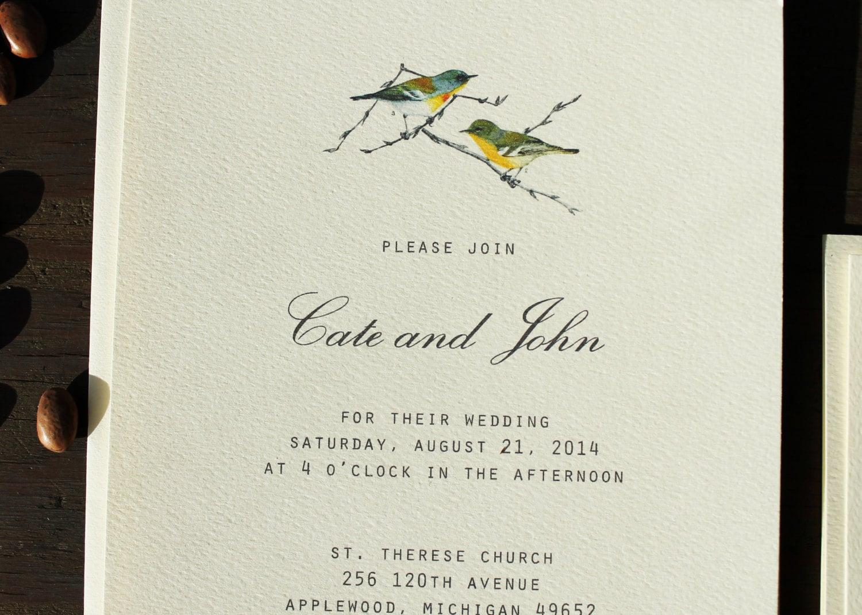 Bird Wedding Invitation Set Downloadable Wedding Invitation