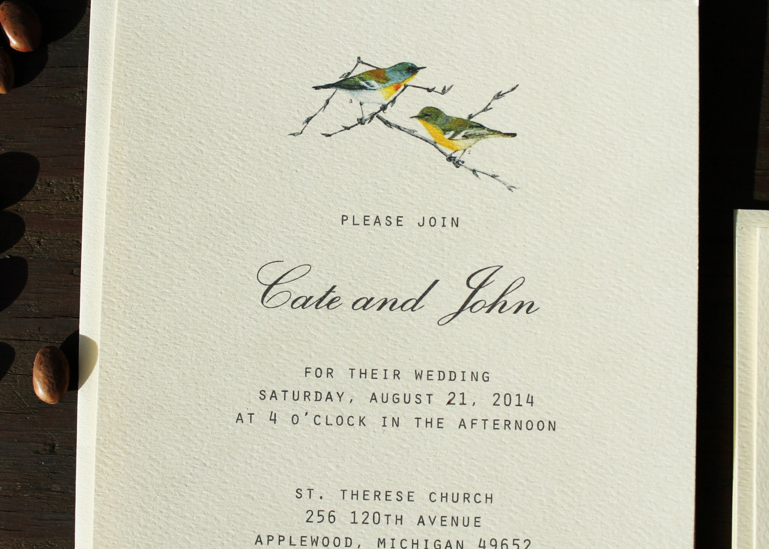 Bird Wedding Invitation Set Downloadable Wedding Invitation