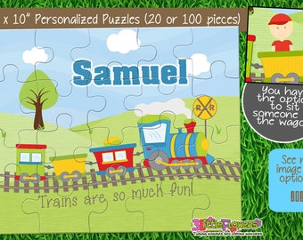"Personalized Train Puzzle - Personalized 8"" x 10"" Puzzle - Personalized Name Puzzle - Personalized Children Puzzle - 20 pieces puzzle"