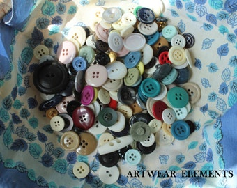 Vintage Mixed Buttons, Variety Lot, Sewing, Craft, Findings, Novelty, Scrap Booking, Gems, Many Sizes, Multi Colored, 5 Ounces #BH