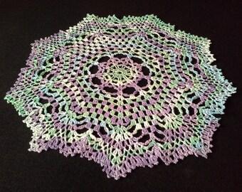 Crochet doily - Round doilies - Medium doily - Rainbow doily - Home decor - Crochet doilies