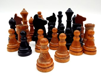 Vintage Chess Game, Wooden Chess Pieces, Red Cross Gift From USA, Old Board Game, Small Wood Chess Men, Old Chess Game - Aged with no box