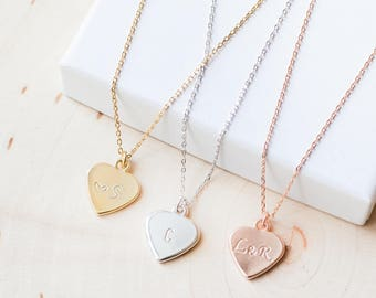 Heart necklace personalized initial letter gold silver rose