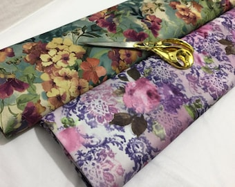 L/Weight Poly One Way Stretch Floral Prints 2 Dress/Craft/Cushion/Curtains
