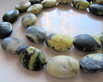 Yellow TURQUOISE Beads in Olive Green and Grey, Flat Oval, Quartz Jasper Gemstones, 25mm x 18mm, 1 Strand 15 Inches, 16 Beads