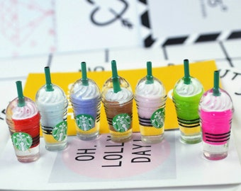 20Pieces Round Starbucks Coffee Frappuccino Flat Back Resin Cabochon Miniature DIY Flat Back Decorative Scrapbooking Accessories:13×32mm