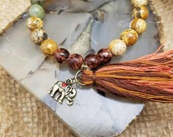 Elephant Jasper & Agate Bracelet