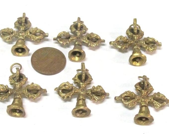 6 pendants - Ethnic small medium size Tibetan Dorje solid brass pendant from Nepal wholesale bulk supply - CP136s