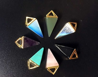 Natural Crystal Quartz Triangle Pyramid Pendant Gemstone Healing Crystal Yoga Pendant with gold electroplated cap - You choose