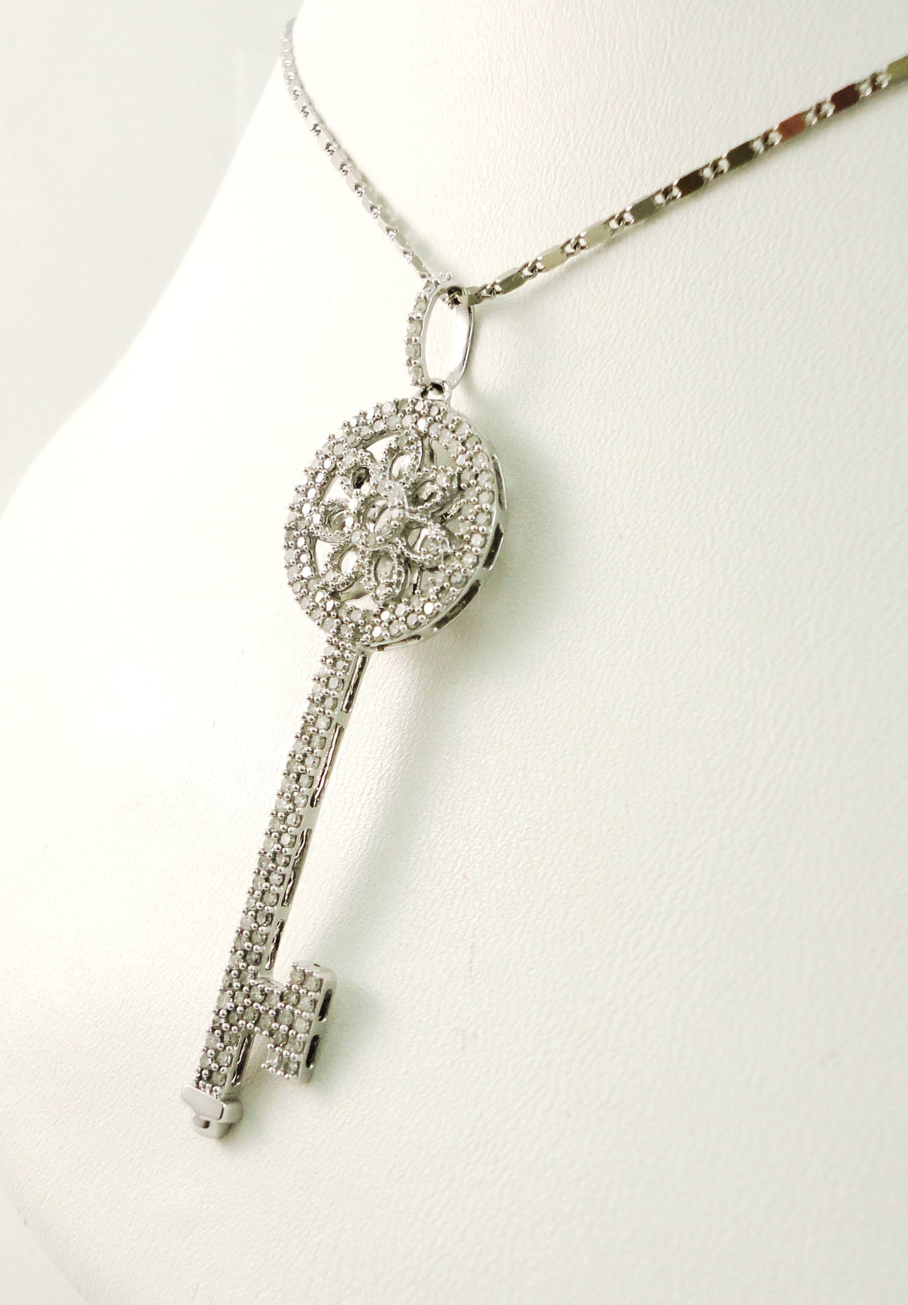 Diamond key necklace key necklace pave diamonds white gold zoom mozeypictures Image collections