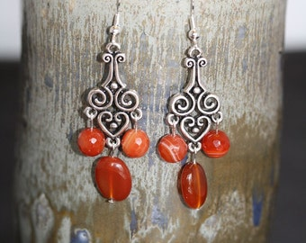 Red Line Agate Earrings - Item 1494