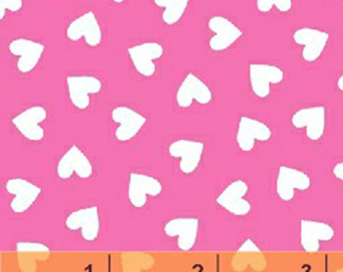 Windham Basic Brights - Hearts in White on Pink - Bright Basics Cotton Quilt Fabric Heart - Windham Fabrics - 31640-4 (W4165)