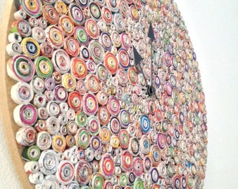 Round wall clock made of recycled paper and magazines,Handmade,Home and office,Decoration,Gift
