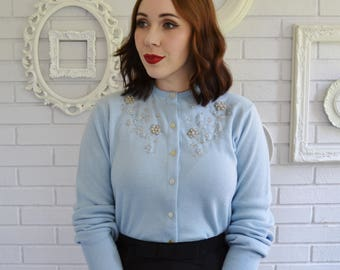 Vintage 1950s Light Blue Cardigan with Faux Pearls and Beads by Penny Pepper Size Small