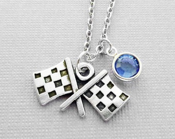 Race Flags Necklace,Flag Necklace,Car Races Jewelry,Car Driver,BFF Friend,Birthday Gift, Silver Jewelry Swarovski Channel Crystal Birthstone