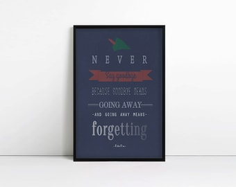 Never say goodbye - Peter Pan - Book Quote - Typography print - Kids Room - Nursery - J M Barrie
