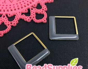 CH-EX-08184GY -  Nickel Free, raw brass, Geometrical square in square charm,grey, 4 pcs