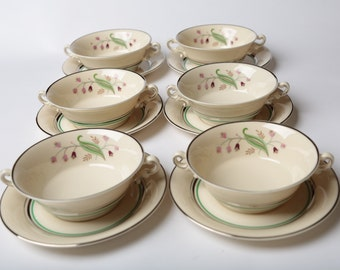Syracuse China Old Ivory 'Coralbel' Set of 6 Cups and 6 Saucers