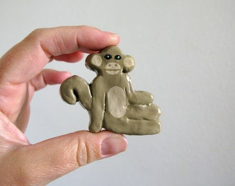 Monkey Drawer Knob - ceramic pull for kids room dresser drawers