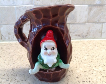Vintage Gnome Elf Pixie Hugger Woodland Pottery Pitcher- Japan, 1950's, very nice