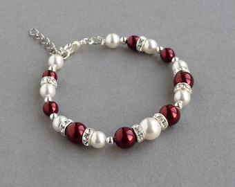 Burgundy Pearl Bracelet - Dark Red and White Bridesmaid Jewellery - Claret Bridal Party Gifts - Marsala Pearl Wedding Accessories