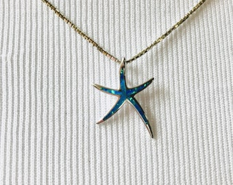 Opal Starfish in Sterling Silver or Rose Gold Vermeil ~ NBJ337 ~ Rose Gold Starfish ~ Sea Star Necklace ~ Beach Wedding ~ Beach Vacation