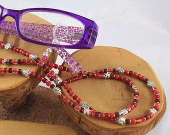 Cherry Bomb brilliant red eyeglass sunglass handcrafted beaded chain never lose your glasses again!