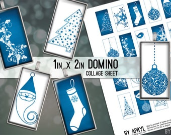 Winter Christmas Snowflake Tree Blue White 1x2 Domino Collage Sheet Digital Images for Domino Pendants Magnets Scrapbooking JPG