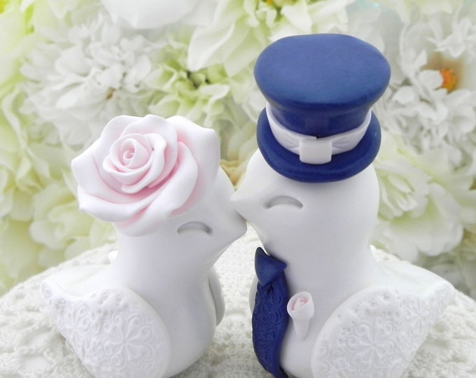 Love Birds Wedding Cake Topper, White, Blush Pink and Navy Blue, Bride and Groom Keepsake, Fully Personalized