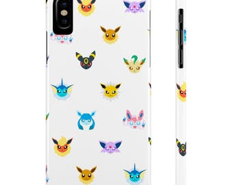 Eeeveelution Chibi Faces Pattern Premium Phone Case For Iphone X 8 7 6 5 Galaxy S7 S6 S5