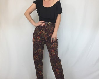 Vintage 90's 'Intention' Purple Corduroy Pants | High Waisted | Floral | Paisley | Boho | Festival