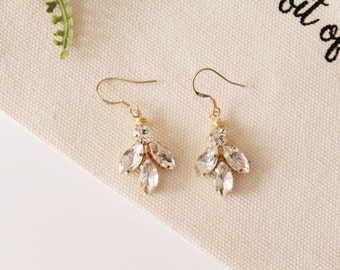 Bridesmaid Crystal Earrings Bridal Earrings Crystal Earrings Gold Leaf Earrings Silver Earrings Wedding Earrings Bridesmaid Gift #175