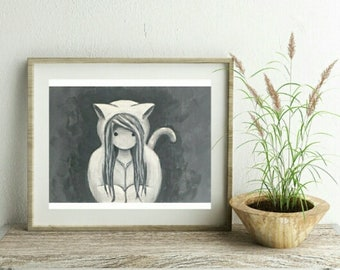 Cat girl print in black and white on recycled paper.