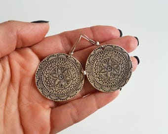 Ottoman earrings//Silver plated earrings//Turkish jewelry/tribal jewelry/gift for you/Mother's Day