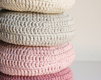 SET of 4. Crochet pillow. Round pillow. Crochet cushion. Coussin crochet. Cojin ganchillo. Nursery decor. Häkeln Kissen.