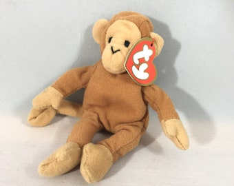 Bongo the Monkey Plush TY Teenie Beanie Baby Retired Vintage Stuffed Animal  Toy