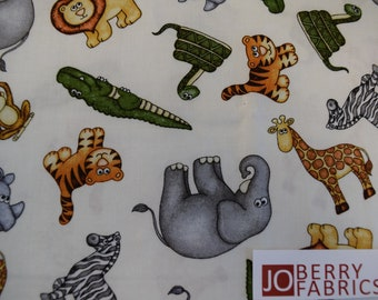 Animals from the Jungle Buddies Collection by Dan Morris for Quilting Treasures.  Quilt or Craft Fabric, Fabric by the Yard.