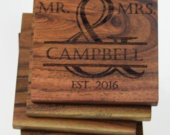Personalized & Monogrammed Coasters (Set of 4) / Wedding Coasters / Christmas Gift / Customizable