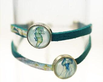 "Leather wrap bracelet ""Atlantis underwater world"", silver"