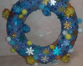 Wreath - blue, gold and silver
