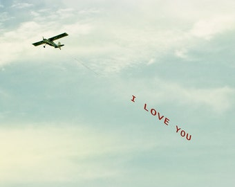 Love Photograph, Print or Canvas, I Love You Plane, Wedding Anniversary Gift, Romantic Art, Stewardess, Pilot, Airplane - I Love You