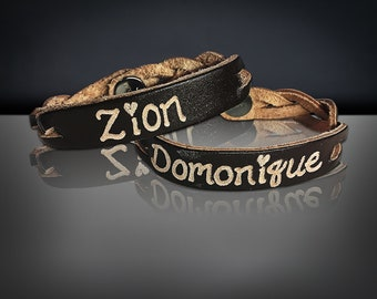 Custom Leather Bracelet -Leather Personalized Bracelet-His and Her jewelry-Engraved name bracelet-personalized gifts -Matching couples gifts