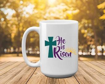 Pastor wife mug etsy he is risen easter easter gift easter mug gift for pastor negle Gallery