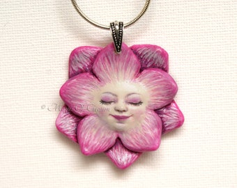 Lotus flower goddess pendant, zen and nature lover gift idea. Peaceful cute lotus fairy, pink flower pendant handmade and hand painted.