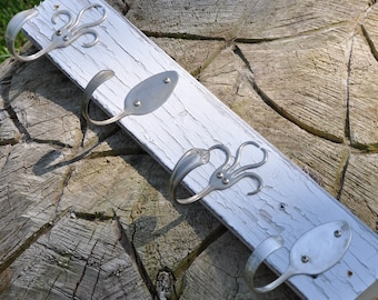 Shabby Chic Silver Spoons And 003 Style Fork Hook Rack Recycled Silverware
