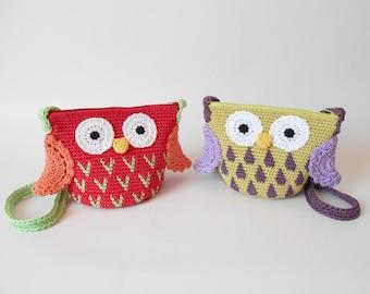 Owl Cross body Bags, crochet bags, amigurumi bags, tapestry crochet bag, crochet for kids, crochet owl, diy kids bags