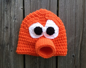 Q*bert Inspired Beanie Hat with Large Mouth and Eyebrows. Created in various sizes.