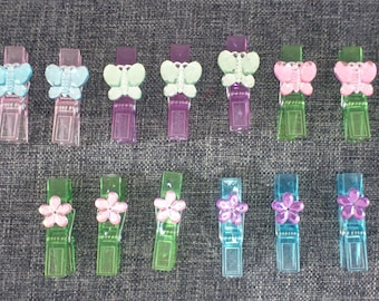 set of 15 clips/clothespins plastic colorful rhinestone flower and Butterfly pattern
